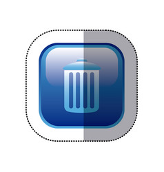 Sticker blue square frame with trash container vector