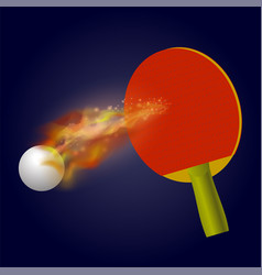 Table tennis racket and ball vector