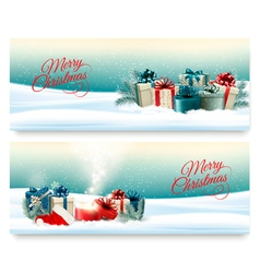 Two Christmas banners with presents and magic box vector image vector image