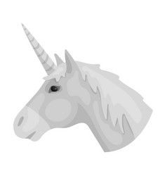 Unicorn icon in monochrome style isolated on white vector