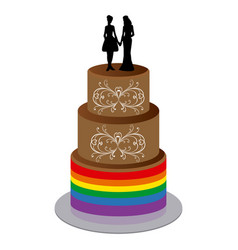 Wedding cake with two women vector
