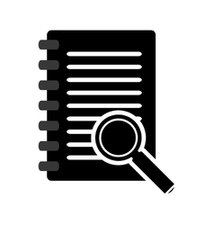 wired notebook and magnifying glass icon vector image vector image