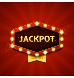Jackpot retro banner with glowing lamps vector