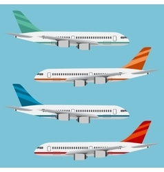 Set of colorful flat airplanes vector image