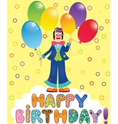 Clown with festive balloons vector