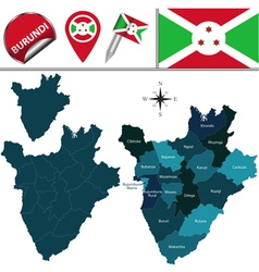 Burundi map with named divisions vector