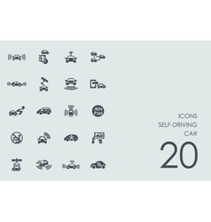 Set of self-driving car icons vector