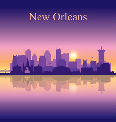 New orleans silhouette on sunset background vector