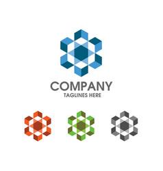 hexagon box color logo vector image