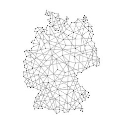 Map of germany from polygonal black lines and dots vector