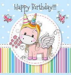 Greeting card cute unicorn vector