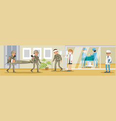 Military hospital concept vector