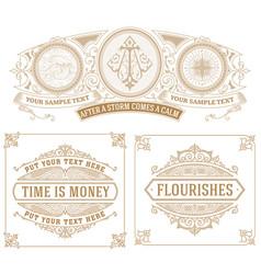 set of 3 vintage cards vector image