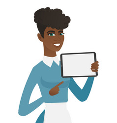 Young african cleaner holding tablet computer vector