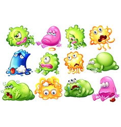 Sad and dying monsters vector image