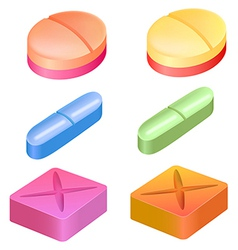 Different shapes of medicinal pills vector