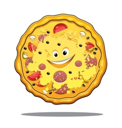 Cartoon pepperoni pizza vector