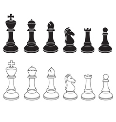Set of chess icons in black and white vector