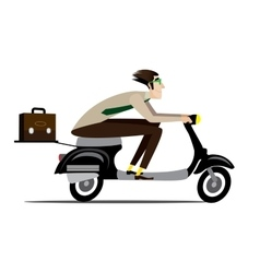 Creative man riding on a scooter vector