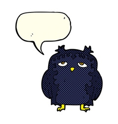 Cartoon wise old owl with speech bubble vector