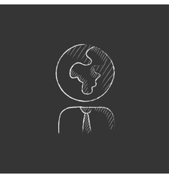 Human with globe head drawn in chalk icon vector