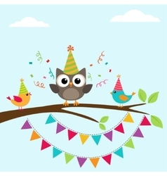 Birthday card with birds vector