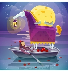 Horse with lantern surreal dream poster vector