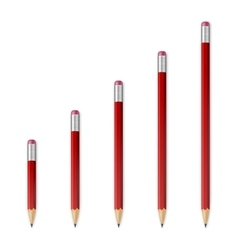 Red wooden sharp pencils vector