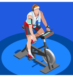 Exercise bike spinning fitness class 3d isometric vector