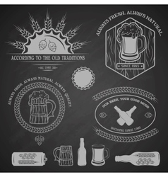 Beer emblems labels and design elements vector image vector image