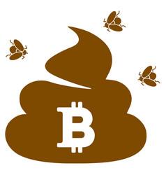 Bitcoin shit flat icon vector