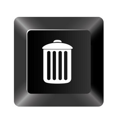 black button trash can icon vector image
