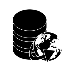 Black database globe connections network design vector