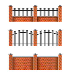 Brick fences set isolated on white vector