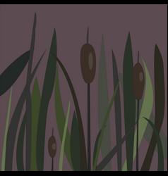 Bush of swamp reed on a lake vector