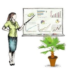 Business sketch graphs vector image