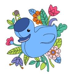 Cartoon blue duck vector