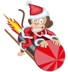 Christmas monkey santa flying on firework rocket vector