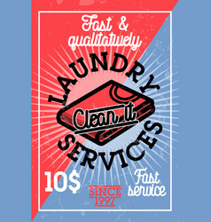 Color vintage laundry services banner vector
