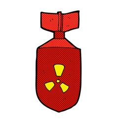 Comic cartoon nuclear bomb vector