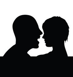 Couple head black silhouette vector