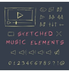 Doodle hand drawn music elements set sketch vector