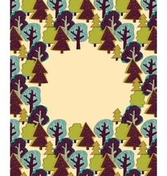 Doodles forest color border frame vector