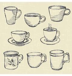 drawn pencil cups vector image