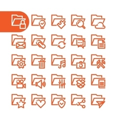 Fat line folder icons vector