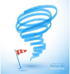 Felt pen drawing of storm vector