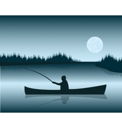 Fisherman in boat vector
