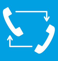 handsets with arrows icon white vector image