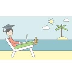 Man in graduation cap on seashore vector