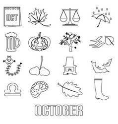 october month theme set of outline icons eps10 vector image vector image